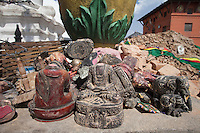 Collected artefacts from the destroyed site of the Shoyembho temple, just outside Kathmandu, Nepal