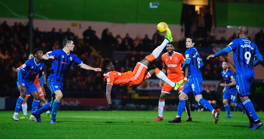Blackpool's Armand Gnanduillet attempts an overhead kick as his side look for a late equaliser <br /> <br /> Photographer Chris Vaughan/CameraSport<br /> <br /> The EFL Sky Bet League One - Rochdale v Blackpool - Wednesday 26th December 2018 - Spotland Stadium - Rochdale<br /> <br /> World Copyright © 2018 CameraSport. All rights reserved. 43 Linden Ave. Countesthorpe. Leicester. England. LE8 5PG - Tel: +44 (0) 116 277 4147 - admin@camerasport.com - www.camerasport.com