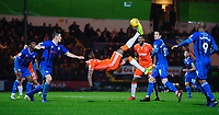 Blackpool's Armand Gnanduillet attempts an overhead kick as his side look for a late equaliser <br /> <br /> Photographer Chris Vaughan/CameraSport<br /> <br /> The EFL Sky Bet League One - Rochdale v Blackpool - Wednesday 26th December 2018 - Spotland Stadium - Rochdale<br /> <br /> World Copyright &copy; 2018 CameraSport. All rights reserved. 43 Linden Ave. Countesthorpe. Leicester. England. LE8 5PG - Tel: +44 (0) 116 277 4147 - admin@camerasport.com - www.camerasport.com