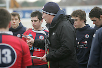 4 March 2013; Ballyclare coach Daniel Soper during the schools cup semi-final clash between RBAI and Ballyclare High School at Ravenhill Belfast. Photo Credit : John Dickson / DICKSONDIGITAL