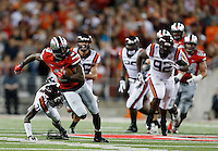 Ohio State Buckeyes wide receiver Michael Thomas (3) breaks away for a touchdown in the third quarter at Ohio Stadium September 6, 2014. (Dispatch photo by Eric Albrecht