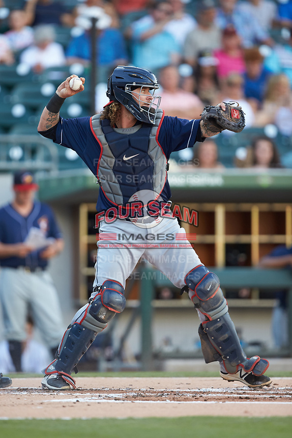 Toledo Mud Hens catcher Jarrod Saltalamacchia (39) on defense against the Charlotte Knights at BB&T BallPark on June 22, 2018 in Charlotte, North Carolina. The Mud Hens defeated the Knights 4-0.  (Brian Westerholt/Four Seam Images)