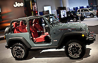 A Jeep Rubicon is seen  at the 2013 New York International Auto Show in New York March 27, 2013. The 113th New York International Auto Show, which runs from March 29 to April 7, features 1,000 vehicles as well the latest in tech, safety and innovation.  .VIEWpress /Kena Betancur