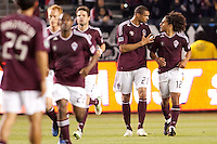 Colorado Rapids forward Quincy Amarikwa (12) is congratulated by teammate forward Caleb Folan (21). The Colorado Rapids defeated CD Chivas USA 1-0 at Home Depot Center stadium in Carson, California on Saturday March 26, 2011...