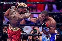 """Fairfax, VA - May 11, 2019: Julian J-Rock"""" Williams lands a right hook during Jr. Middleweight title fight against Jarrett """"Swift"""" Hurd at Eagle Bank Arena in Fairfax, VA. Julian Williams defeated Hurd to take home the IBF, WBA and IBO Championship belts by unanimous decision. (Photo by Phil Peters/Media Images International)"""