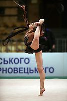 "Valeria Shurkhal of Ukraine holds balance with ribbon at 2008 World Cup Kiev, ""Deriugina Cup"" in Kiev, Ukraine on March 22, 2008."