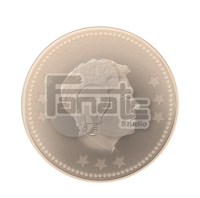Illustrative image of man and bulb imprint on coin representing idea generation