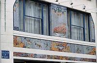 """Europe/France/Nord-Pas-de-Calais/59/Nord/Lille: Détail de la mosaïque de la poissonnerie restaurant """"A l'Huitrière"""" rue des Chats Bossus"""