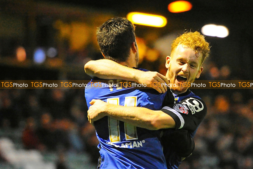 Connor Ogilvie of Stevenage right celebrates with goal scorer Tom Pett of Stevenage after he had made the score 2-2- during Yeovil Town vs Stevenage, Sky Bet League 2 Football at Huish Park, Yeovil, England on 14/11/2015