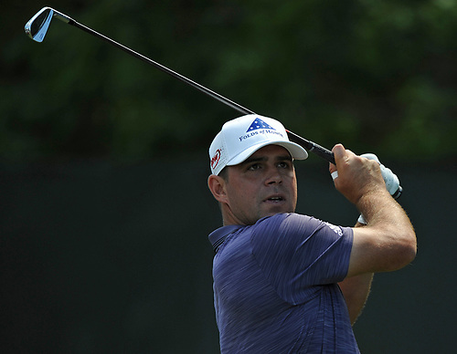 Gary Woodland tees off from the 2nd Hole during a practice round prior to the U.S. Open Championship at Shinnecock Hills Golf Club in Southampton on Monday, June 11, 2018.