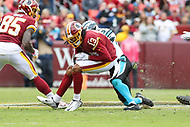 Landover, MD - October 14, 2018: Washington Redskins wide receiver Maurice Harris (13) catches a pass during the  game between Carolina Panthers and Washington Redskins at FedEx Field in Landover, MD.   (Photo by Elliott Brown/Media Images International)