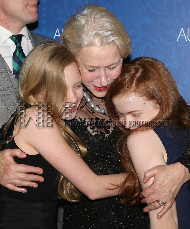 Elizabeth Teeter, Helen Mirren and Sadie Sink attends the opening night after party for the Broadway Opening of 'The Audience' at Urbo NYC on March 8, 2015 in New York City.