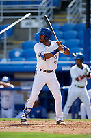Dunedin Blue Jays designated hitter Joshua Palacios (7) at bat during a game against the Lakeland Flying Tigers on May 27, 2018 at Dunedin Stadium in Dunedin, Florida.  Lakeland defeated Dunedin 2-1.  (Mike Janes/Four Seam Images)