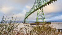 Astoria-Megler Bridge, Columbia River, a steel girder continuous truss bridge spanning the Columbia River between Astoria, Oregon and Point Ellice, Megler, Washington, United States.  Total span 14 miles.  It is the longest continuous bridge in North America.