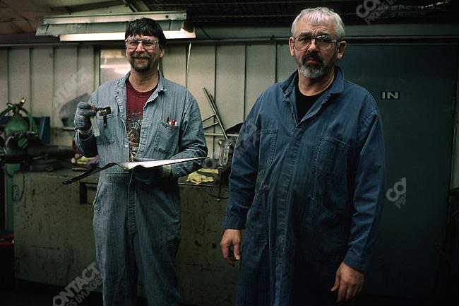 GM workers, Lansing, Michigan, USA, February 2001