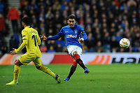 James Tavernier of Rangers plays the ball past Jaume of Villarreal CF during Rangers vs Villarreal CF, UEFA Europa League Football at Ibrox Stadium on 29th November 2018