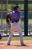Colorado Rockies outfielder Tyler Bugner (65) at bat during an Extended Spring Training game against the Chicago Cubs at Sloan Park on April 17, 2018 in Mesa, Arizona. (Zachary Lucy/Four Seam Images)