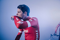 Jasper Stuyven (BEL/Trek-Segafredo) getting ready for the team presentation in the legendary 'Kuipke' velodrome<br /> <br /> Omloop Het Nieuwsblad 2018<br /> Gent &rsaquo; Meerbeke: 196km (BELGIUM)