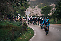 Team Movistar setting the peloton pace in the rain<br /> <br /> Trofeo Lloseta - Andratx: 140km<br /> 27th Challenge Ciclista Mallorca 2018