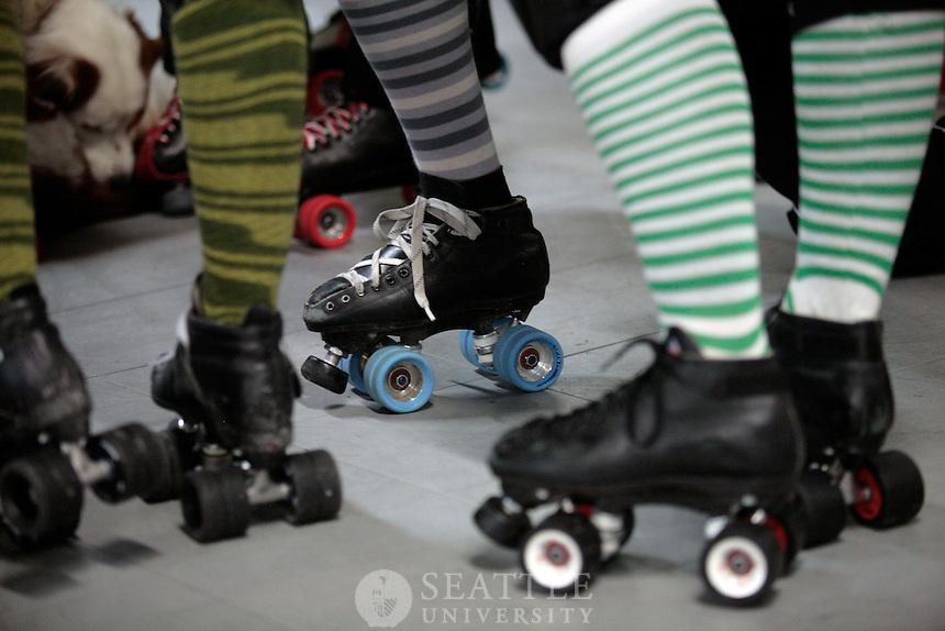 04072010-  Rat City Roller Girls, Sockit Wenches, Anna Stevens, college of education student, Ima handful, practice in Ballard, Seattle University Magazine