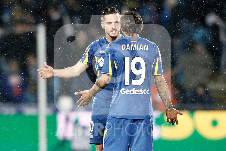 Getafe's Pablo Sarabia (f) and Damian Suarez during La Liga match. March 18,2016. (ALTERPHOTOS/Acero)