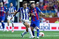 Carlos Vigaray of Club Deportivo Alaves competes for the ball with Leo Messi of FC Barcelona during the match of  Copa del Rey (King's Cup) Final between Deportivo Alaves and FC Barcelona at Vicente Calderon Stadium in Madrid, May 27, 2017. Spain.. (ALTERPHOTOS/Rodrigo Jimenez) /NortePhoto.com