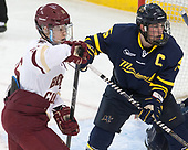 Julius Mattila (BC - 26), Jared Kolquist (Merrimack - 15) - The visiting Merrimack College Warriors defeated the Boston College Eagles 6 - 3 (EN) on Friday, February 10, 2017, at Kelley Rink in Conte Forum in Chestnut Hill, Massachusetts.