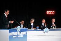 Il Presidente della Camera dei Deputati Gianfranco Fini, a sinistra, parla durante la Direzione Nazionale del Popolo della Liberta' (PdL), a Roma, 22 aprile 2010, davanti al Presidente del Consiglio Silvio Berlusconi, secondo da destra, e ai coordinatori nazionali Ignazio La Russa, secondo da sinistra, Denis Verdini, al centro, e Sandro Bondi..Lower Chamber speaker Gianfranco Fini, left, speaks as Italian Premier Silvio Berlusconi, second from right, flanked by party's coordinators Ignazio La Russa, second from left, Denis Verdini, center, and Sandro Bondi, gestures during the National Direction of the People of Freedom (PdL) center-right party in Rome, 22 april 2010..UPDATE IMAGES PRESS/Riccardo De Luca