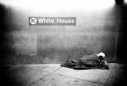 A homeless man near a metro station in the nation's capital.