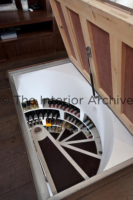 An open trapdoor in the living room floor reveals a basement wine cellar