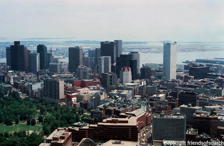 Boston:  Views from the Hancock--looking east.  Photo '88.