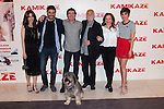"From left to right, actors, Leticia Dolera, Alex Garcia, Director Alex Pina, Hector Alterio, Carmen Machi, Verónica Echegui and Rua the dog attend the photocall of the movie ""KAMIKAZE"" in Madrid, Spain. March 27, 2014. (ALTERPHOTOS/Carlos Dafonte)"