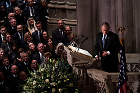 Former President George W. Bush during his eulogy of his father former president George Herbert Walker Bush during a memorial ceremony at the National Cathedral in Washington, Wednesday,  Dec.. 5, 2018. <br /> CAP/MPI/RS<br /> &copy;RS/MPI/Capital Pictures