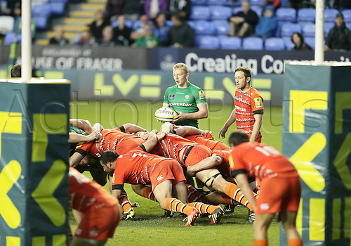 01.11.2014.  Reading, England.  LV Cup Rugby. London Irish versus Leicester Tigers. Connor Murphy with the ball waits to feed the scrum in the Leicester 22.