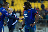 France's Jules Plisson talks to France captain Mathieu Bastareaud after the Steinlager Series international rugby match between the New Zealand All Blacks and France at Westpac Stadium in Wellington, New Zealand on Saturday, 16 June 2018. Photo: Dave Lintott / lintottphoto.co.nz