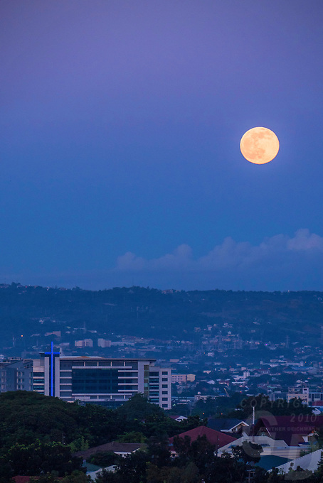 Full Moon over the Ortigas and Business district area in Manila, Philippines