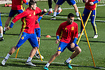 Spainsh Alvaro Morata and Sergio Busquets during the training of the spanish national football team in the city of football of Las Rozas in Madrid, Spain. November 09, 2016. (ALTERPHOTOS/Rodrigo Jimenez)