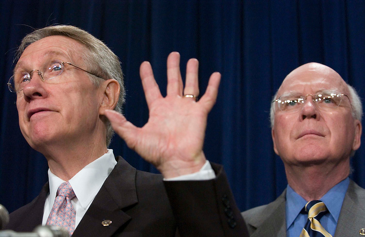 06/22/05.SENATE DEMOCRATS URGE BUSH TO CONSULT THEM ON NEXT SUPREME COURT NOMINEE--Senate Minority Leader Harry Reid, D-Nev., and Sen. Patrick J. Leahy, D-Vt., during a news conference with Sen. Edward M. Kennedy, D-Mass., urging President Bush to consult them regarding who he should nominate should there be a vacancy on the Supreme Court. The ailing Chief Justice William H. Rehnquist is widely expected to retire at the end of the term. .CONGRESSIONAL QUARTERLY PHOTO BY SCOTT J. FERRELL