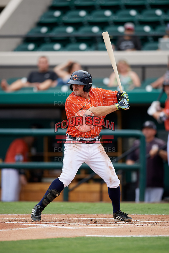 Lakeland Flying Tigers second baseman Will Maddox (3) at bat during the second game of a doubleheader against the St. Lucie Mets on June 10, 2017 at Joker Marchant Stadium in Lakeland, Florida.  Lakeland defeated St. Lucie 9-1.  (Mike Janes/Four Seam Images)