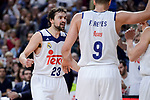 Real Madrid's Sergio Llull and Felipe Reyes during Liga Endesa match between Real Madrid and FC Barcelona Lassa at Wizink Center in Madrid, Spain. March 12, 2017. (ALTERPHOTOS/BorjaB.Hojas)
