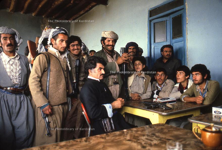 Iran 1979.Peshmergas of KDPI resting in a tea house