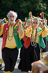 Male and female traditional Morris dancers perform at rural folk event, Shottisham, Suffolk, England