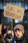 "© Joel Goodman - 07973 332324 . 20/02/2017 . Manchester , UK . Man with a home made "" UK in Trump out "" placard . Hundreds of protesters at a Stop Trump demonstration in Albert Square , central Manchester , to coincide with Parliament debating a petition calling for the government to cancel a State Visit by US President Donald Trump . Photo credit : Joel Goodman"