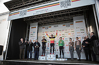Women's Race Podium:<br /> <br /> 1st place: Sanne Cant (BEL/Iko-Beobank)<br /> 2nd place: Ellen Van Loy (BEL/Telenet Fidea Lions)<br /> 3th place: Loes Sels (BEL/Crelan Charles)<br /> <br /> Belgian National Cyclocross Championships 2018 / Koksijde