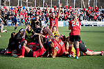 KANSAS CITY, MO - DECEMBER 02: The University of Central Missouri celebrates after defeating Carson-Newman University in penalty kicks to win the Division II Women's Soccer Championship held at the Swope Soccer Village on December 2, 2017 in Kansas City, Missouri. (Photo by Doug Stroud/NCAA Photos/NCAA Photos via Getty Images)