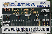 July 14th 2008:  The scoreboard shows that Paco Figueroa of the Aberdeen Ironbirds, Class-A affiliate of the Baltimore Orioles, is the Taco Bell K-man during a game at Dwyer Stadium in Batavia, NY while on a rehab assignment from the Bowie Baysox.  Photo by:  Mike Janes/Four Seam Images