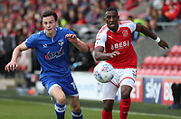 Fleetwood Town's Amari'i Bell (right) and Oldham Athletic's George Edmundson (left) chase the ball<br /> <br /> Photographer Stephen White/CameraSport<br /> <br /> The EFL Sky Bet League One - Fleetwood Town v Oldham Athletic - Saturday 9th September 2017 - Highbury Stadium - Fleetwood<br /> <br /> World Copyright &copy; 2017 CameraSport. All rights reserved. 43 Linden Ave. Countesthorpe. Leicester. England. LE8 5PG - Tel: +44 (0) 116 277 4147 - admin@camerasport.com - www.camerasport.com