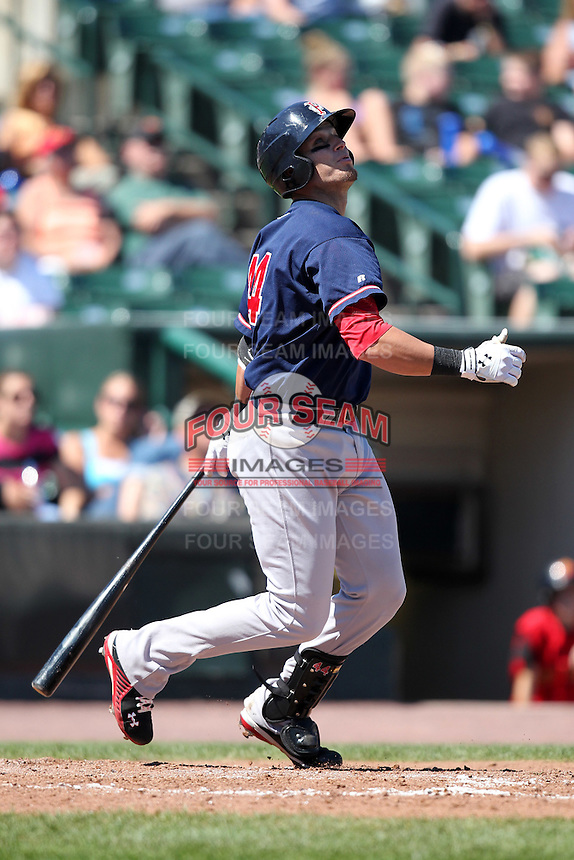 Pawtucket Red Sox Aaron Bates during a game vs. the Rochester Red Wings at Frontier Field in Rochester, New York;  August 29, 2010.   Rochester defeated Pawtucket 6-3.  Photo By Mike Janes/Four Seam Images