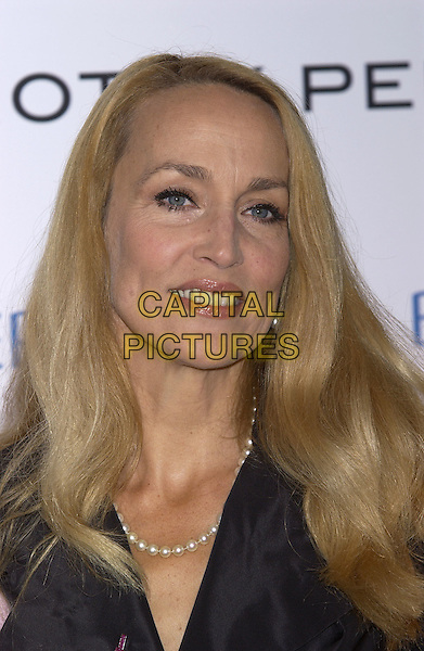 JERRY HALL.Hosts the Breat Cancer Care Fashion Show, Grosvenor House, Park Lane, October 6th 2004..portrait headshot black dress pearls pearl necklace.Ref: PL.www.capitalpictures.com.sales@capitalpictures.com.©Capital Pictures.
