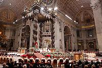 Papa Francesco celebra la messa della Notte di Natale, nella Basilica di San Pietro, Citta' del Vaticano, 24 dicembre 2014.<br /> Pope Francis celebrates the Christmas Eve mass in St. Peter's Basilica, Vatican, 24 December 2014.<br /> UPDATE IMAGES PRESS/Riccardo De Luca<br /> <br /> STRICTLY ONLY FOR EDITORIAL USE